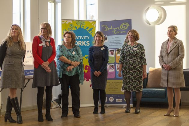 Left to right: Bridget Harvey and Sally Dempsey (Heads Up) , Julie Mathews (WATCH Project), Philippa Forsey (Creativity Works), Sue Place (Balsam Centre), HRH the Countess of Wessex. Image by Oscar Yoosefinejad